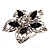 Silver Tone Filigree Black Diamante Flower Cocktail Ring - 5cm Diameter - view 3