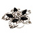 Silver Tone Filigree Black Diamante Flower Cocktail Ring - 5cm Diameter - view 11