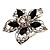 Silver Tone Filigree Black Diamante Flower Cocktail Ring - 5cm Diameter - view 12