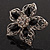 Silver Tone Filigree Black Diamante Flower Cocktail Ring - 5cm Diameter - view 13