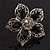 Silver Tone Filigree Black Diamante Flower Cocktail Ring - 5cm Diameter - view 4