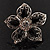 Silver Tone Filigree Black Diamante Flower Cocktail Ring - 5cm Diameter - view 5