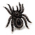 Oversized Jet Black Crystal Spider Stretch Cocktail Ring (Silver Tone)