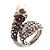 'Calla Lily' Wrap Simulated Pearl Diamante Ring (Silver Tone)
