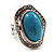 Oval Crystal Turquoise Coloured Acrylic Bead Flex Ring (Silver Tone Metal) Size - 7/9 - view 7