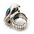 Oval Crystal Turquoise Coloured Acrylic Bead Flex Ring (Silver Tone Metal) Size - 7/9 - view 10