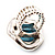 Oval Crystal Turquoise Coloured Acrylic Bead Flex Ring (Silver Tone Metal) Size - 7/9 - view 3