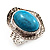 Oval Crystal Turquoise Coloured Acrylic Bead Flex Ring (Silver Tone Metal) Size - 7/9 - view 11