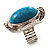 Oval Crystal Turquoise Coloured Acrylic Bead Flex Ring (Silver Tone Metal) Size - 7/9 - view 2