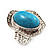 Oval Crystal Turquoise Coloured Acrylic Bead Flex Ring (Silver Tone Metal) Size - 7/9 - view 12
