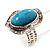 Oval Crystal Turquoise Coloured Acrylic Bead Flex Ring (Silver Tone Metal) Size - 7/9 - view 9