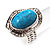 Oval Crystal Turquoise Coloured Acrylic Bead Flex Ring (Silver Tone Metal) Size - 7/9 - view 4