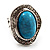Oval Crystal Turquoise Coloured Acrylic Bead Flex Ring (Silver Tone Metal) Size - 7/9 - view 13