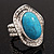 Oval Crystal Turquoise Coloured Acrylic Bead Flex Ring (Silver Tone Metal) Size - 7/9 - view 14
