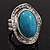 Oval Crystal Turquoise Coloured Acrylic Bead Flex Ring (Silver Tone Metal) Size - 7/9 - view 5