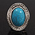 Oval Crystal Turquoise Coloured Acrylic Bead Flex Ring (Silver Tone Metal) Size - 7/9 - view 6