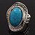 Oval Crystal Turquoise Coloured Acrylic Bead Flex Ring (Silver Tone Metal) Size - 7/9 - view 15