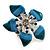Stunning Blue Enamel Crystal Flower Flex Ring (Silver Tone Metal) - Size 7/8