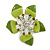 Stunning Green Enamel Crystal Flower Flex Ring (Silver Tone Metal) - Size 7/8 - view 1
