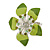 Stunning Green Enamel Crystal Flower Flex Ring (Silver Tone Metal) - Size 7/8 - view 2