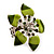 Stunning Green Enamel Crystal Flower Flex Ring (Silver Tone Metal) - Size 7/8 - view 7
