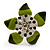 Stunning Green Enamel Crystal Flower Flex Ring (Silver Tone Metal) - Size 7/8 - view 11
