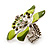 Stunning Green Enamel Crystal Flower Flex Ring (Silver Tone Metal) - Size 7/8 - view 4