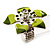 Stunning Green Enamel Crystal Flower Flex Ring (Silver Tone Metal) - Size 7/8 - view 3