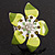 Stunning Green Enamel Crystal Flower Flex Ring (Silver Tone Metal) - Size 7/8 - view 8