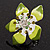 Stunning Green Enamel Crystal Flower Flex Ring (Silver Tone Metal) - Size 7/8 - view 5