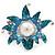 Aqua/ Light Blue Enamel, Crystal, Simulated Pearl 'Calla Lily' Flex Ring In Rhodium Plating - Size 7/8 - view 6