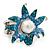 Aqua/ Light Blue Enamel, Crystal, Simulated Pearl 'Calla Lily' Flex Ring In Rhodium Plating - Size 7/8 - view 7