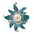 Aqua/ Light Blue Enamel, Crystal, Simulated Pearl 'Calla Lily' Flex Ring In Rhodium Plating - Size 7/8 - view 3