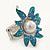 Aqua/ Light Blue Enamel, Crystal, Simulated Pearl 'Calla Lily' Flex Ring In Rhodium Plating - Size 7/8 - view 2