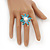 Aqua/ Light Blue Enamel, Crystal, Simulated Pearl 'Calla Lily' Flex Ring In Rhodium Plating - Size 7/8 - view 5