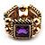Gold Tone Multicoloured Flex Band Ring - Size 7/8 (Elasticized)