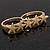 Gold Plated Double Finger 'Five Star' Ring - Size 7&8 - view 9