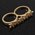 Gold Plated Double Finger 'Five Star' Ring - Size 7&8 - view 6