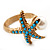 Turquoise Coloured Acrylic Bead 'Starfish' & Simulated Pearl Gold Matte Ring - view 8