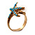 Turquoise Coloured Acrylic Bead 'Starfish' & Simulated Pearl Gold Matte Ring - view 6