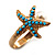 Turquoise Coloured Acrylic Bead 'Starfish' & Simulated Pearl Gold Matte Ring - view 10
