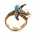 Turquoise Coloured Acrylic Bead 'Starfish' & Simulated Pearl Gold Matte Ring - view 4