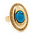 Oval Clear Crystal, Turquoise Stone Ring In Gold Tone - 25mm Across - 7/8 Adjustable