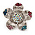 Multicoloured Diamante Daisy Flex Ring In Rhodium Plated Metal - view 4