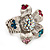 Multicoloured Diamante Daisy Flex Ring In Rhodium Plated Metal - view 8