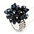 Black Glass Bead Cluster Flex Ring In Rhodium Plated Metal