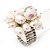 White Freshwater Pearl Cluster Flex Ring In Rhodium Plated Metal - view 2