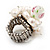 White Freshwater Pearl Cluster Flex Ring In Rhodium Plated Metal - view 8