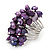 Wide Chunky Purple Freshwater Pearl Ring (Silver Plated Metal)