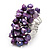 Wide Chunky Purple Freshwater Pearl Ring (Silver Plated Metal) - view 4